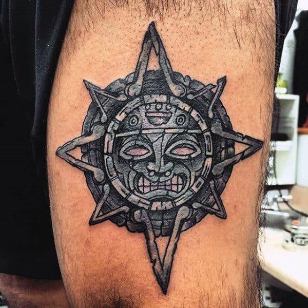 Aztec Style Sun Motif Tattoo