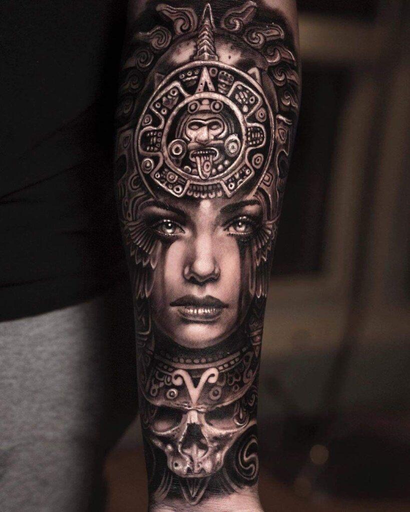 Aztec Style Tribal Woman Tattoo