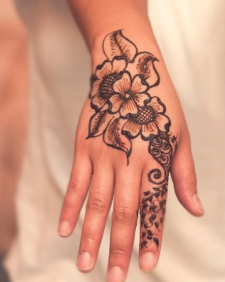Flower henna tattoos