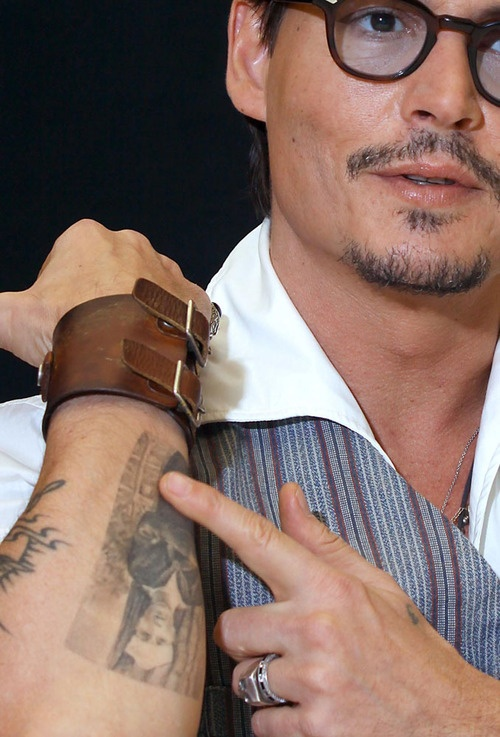 Grandfather's Portrait Tattoo of Johnny Depp