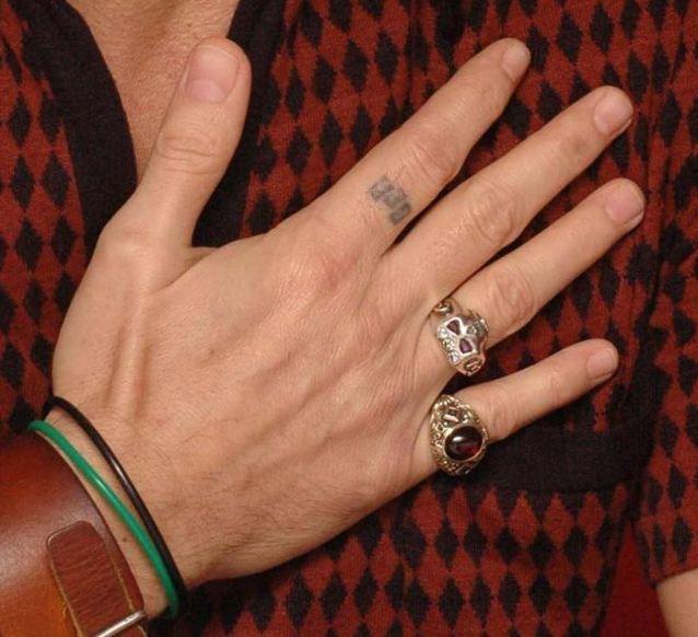 Three rectangles tattoo of Johnny Depp
