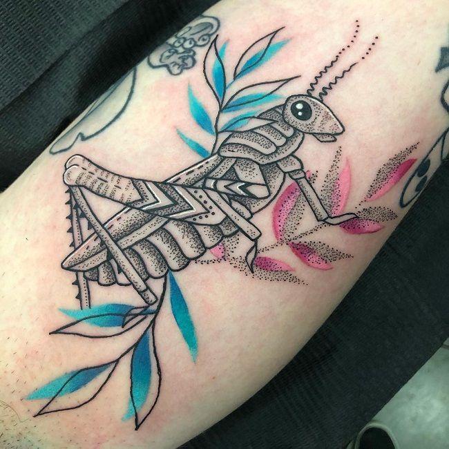 Dot Work Grasshopper Tattoos