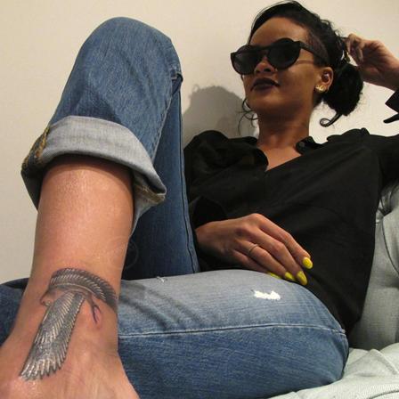 Falcon tattoo of Rihanna