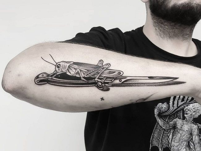 Grasshopper Tattoos with Knife