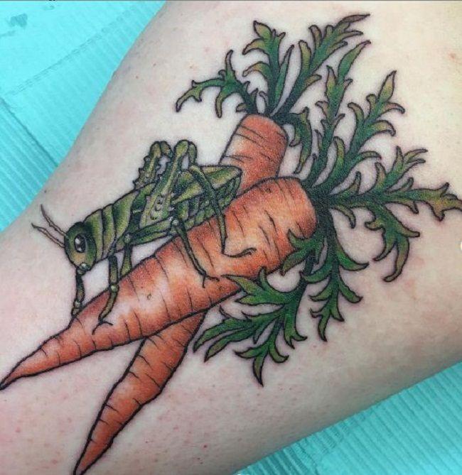 Grasshopper on the Carrots Tattoo