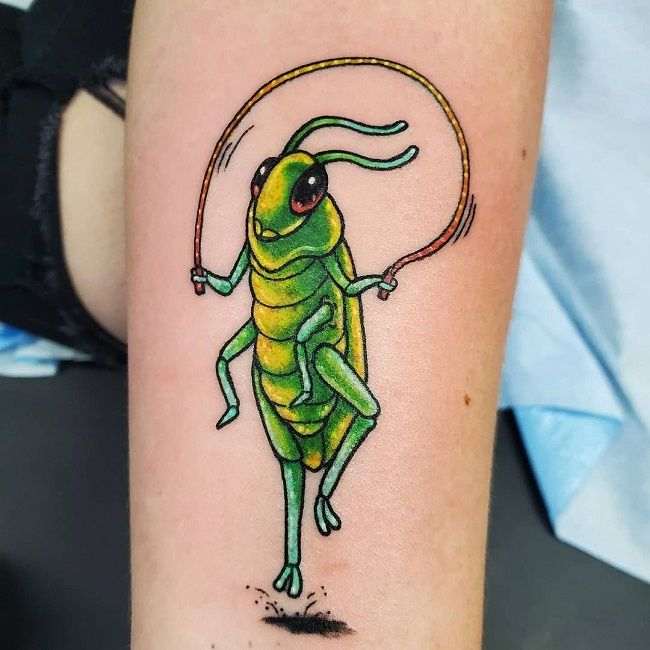 Grasshopper with Jump Rope Tattoo