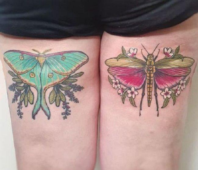 Grasshopper with Luna Moth Tattoos