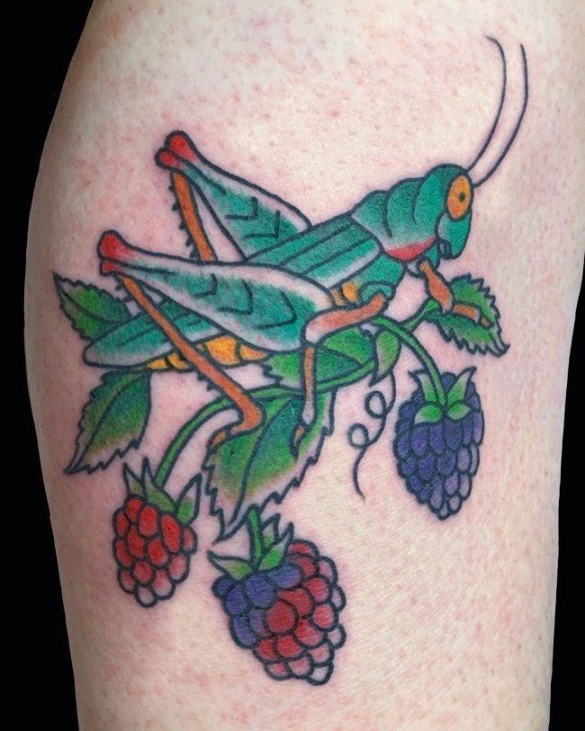 Grasshopper with Raspberries Tattoo