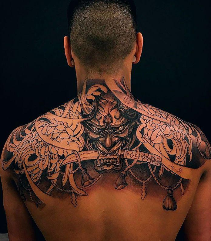 Oni Mask tattoo of Yakuza clan