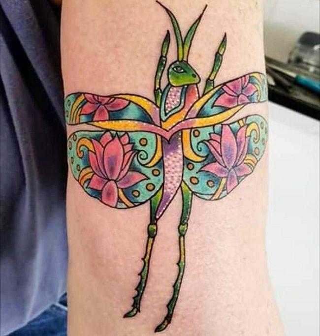 Paisley Pattern Grasshopper Tattoo