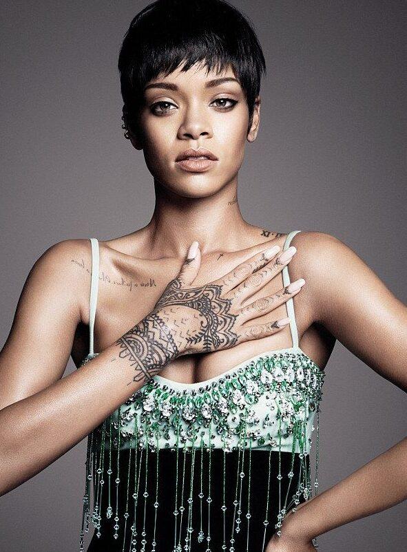 Tribal design tattooof Rihanna